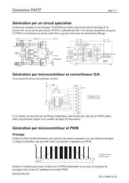 Encodage DTMF en utilisation la fonction PWM d'un PIC     - DAtelec
