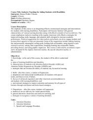 Course Title: Inclusive Teaching for Aiding Students with Disabilities ...