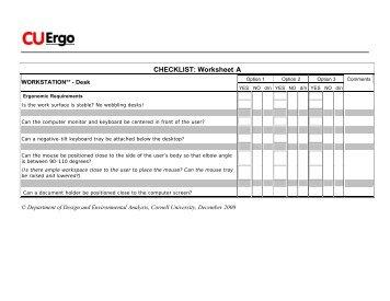 worksheet blank - Cornell University Ergonomics Web