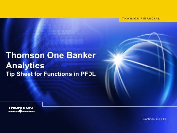 Thomson ONE Banker Tip Sheet PFDL functions