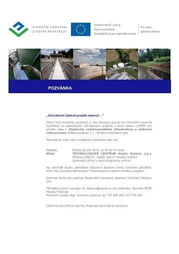 Pozvánka Hradec Králové - Státní fond životního prostředí