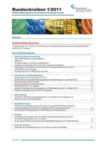 Rundschreiben 2011 - Kassenärztliche Vereinigung Thüringen