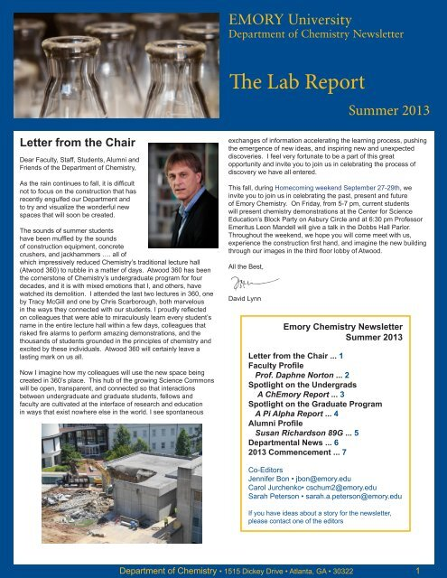 The Lab Report - Chemistry - Emory University