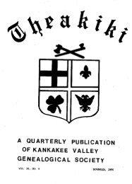 kankakee county cemeteries - Kankakee Valley Genealogical Society