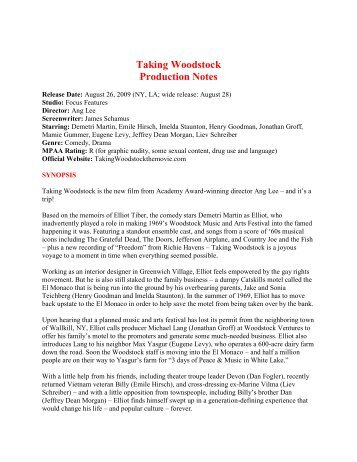 Taking Woodstock Production Notes - Visual Hollywood