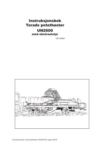 Instruksjonsbok Torads potethøster UN2600 - TKS AS