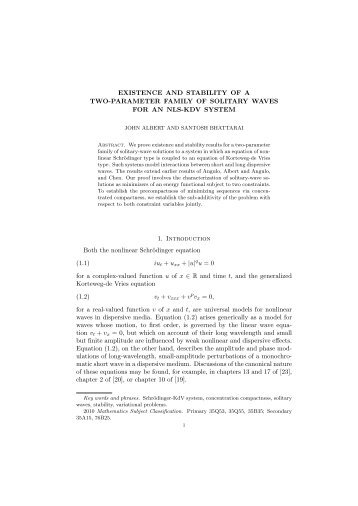 Existence and stability of a two-parameter family of solitary waves for ...
