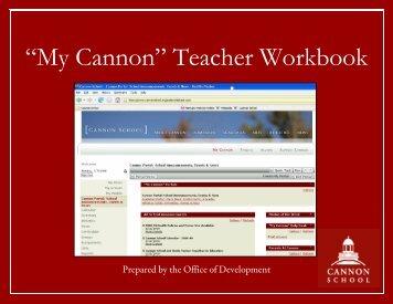 """My Cannon"" Teacher Workbook - Cannon School"