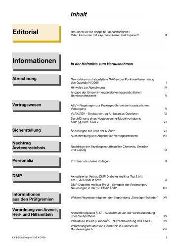Editorial Informationen - Kassenärztliche Vereinigung Sachsen