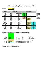 Klasseneinteilung für alle Laufstrecken: 2010 - stone-rich webservices