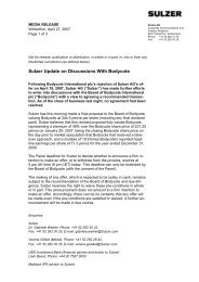 Sulzer Update on Discussions With Bodycote