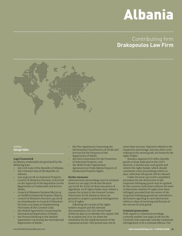 WTR Anti-Counterfeiting Guide 2011 - Albania - Drakopoulos Law ...
