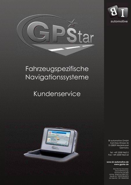Fahrzeugspezifische Navigationssysteme Kundenservice - GPStar