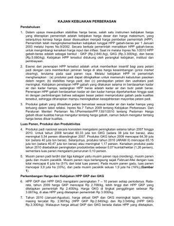 KAJIAN KEBIJAKAN PERBERASAN - Pusat Sosial Ekonomi dan ...