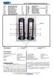 AV TR 1 Wireless Multiroom Audio Video Link Technical Data