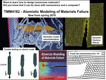 TMM4162 - Atomistic Modeling of Materials Failure - ntnu.no