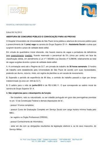 HOSPITAL UNIVERSITÁRIO DA USP Edital HU 34/2013 ...