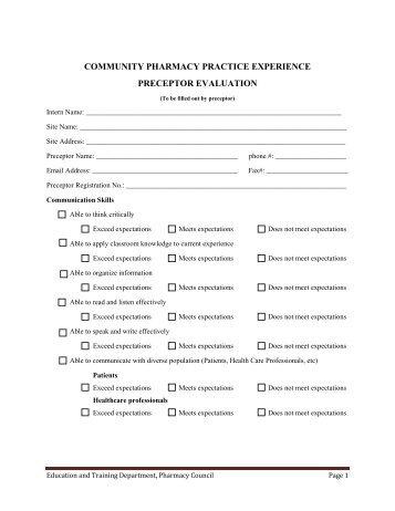 community pharmacy practice experience preceptor evaluation