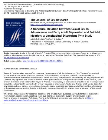 A Noncausal Relation Between Casual Sex in Adolescence and Early Adult Depression and Suicidal Ideation A Longitudinal Discordant Twin Study