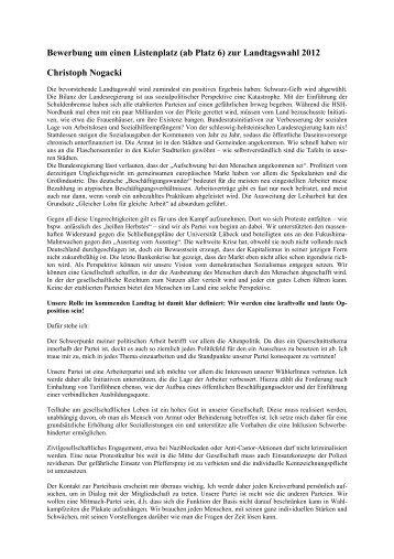 Bewerbung um einen Listenplatz zur Landtagswahl 2012