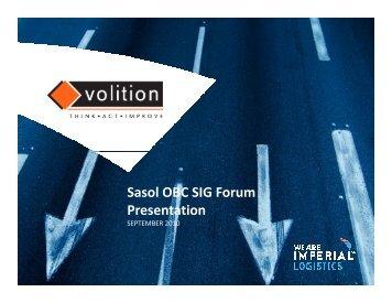 Sasol OBC SIG Forum Presentation - IMPERIAL Logistics