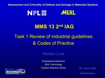 Presentation 2nd IAG Task1 Codes of practice - ESR Technology