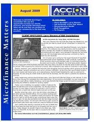 August 2009 Newsletter - ACCION San Diego