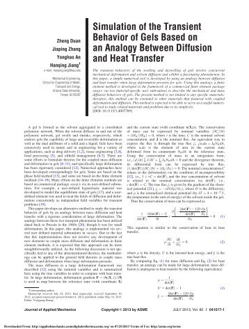 Simulation of the Transient Behavior of Gels Based ... - Hanqing Jiang