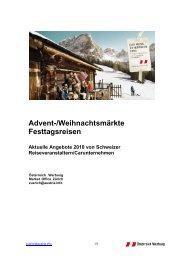 Advent-/Weihnachtsmärkte Festtagsreisen Aktuelle Angebote 2010 ...