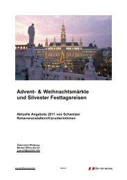 Advent- & Weihnachtsmärkte und Silvester Festtagsreisen