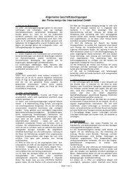 Allgemeine Geschäftsbedingungen der Firma temp-rite International ...