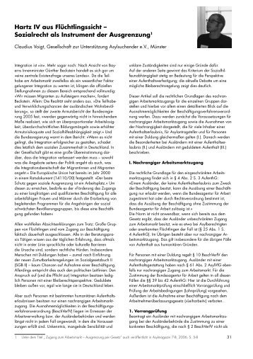 Hartz IV aus Flüchtlingssicht – Sozialrecht als Instrument ... - access