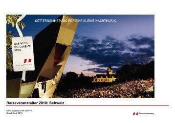 Reiseveranstalter 2010: Schweiz