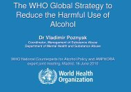 The WHO Global Strategy to Reduce the Harmful Use of Alcohol The ...