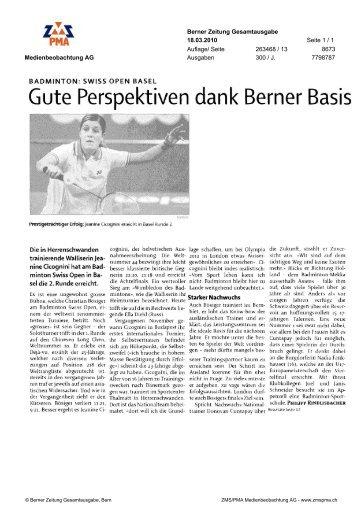 Gute Perspektiven dank Berner Basis - Badminton Swiss Open