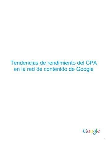 Tendencias de rendimiento del CPA en la red de contenido de Google