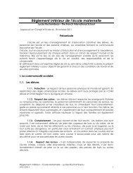 Règlement de l'école maternelle - Lycée Rochambeau