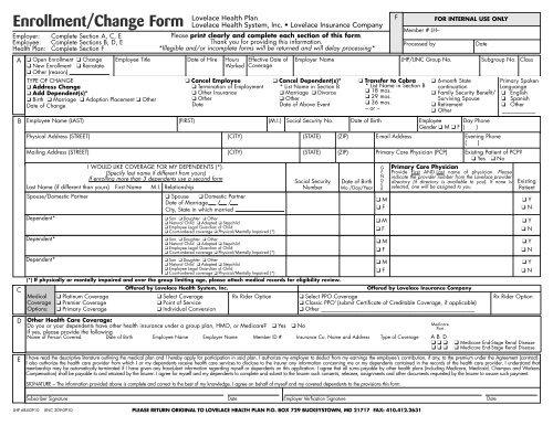 Dual LHP-LINC Enrollment Change Form - Lovelace Health Plan