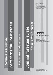 Schweizerische Rivista forestale svizzera Swiss Forestry Journal