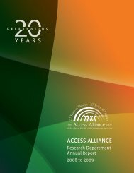 Access Alliance Research Department Annual Report for 2008-2009