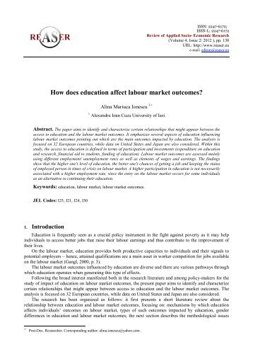 How does education affect labour market outcomes? - Review of ...