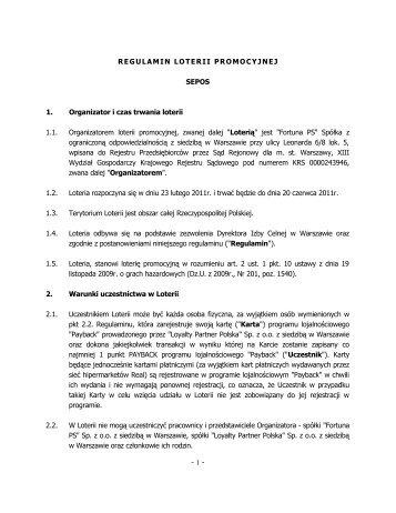 Regulamin Loterii Promocyjnej SEPOS - Fortuna PS logo