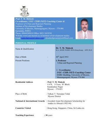 Prof. TM Mahesh Co-ordinator, UGC- CSIR (NET) Coaching Center ...