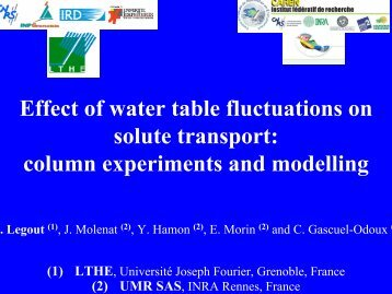 Effect of water table fluctuations on solute transport: column ... - LTHE