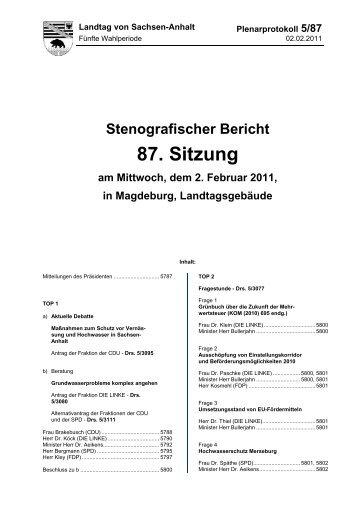 Stenografischer Bericht 87. Sitzung am Mittwoch, dem 2. Februar ...