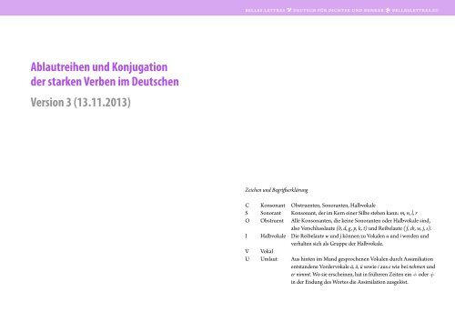 Starke Verben Printout (PDF) - Belles Lettres – Deutsch für Dichter ...