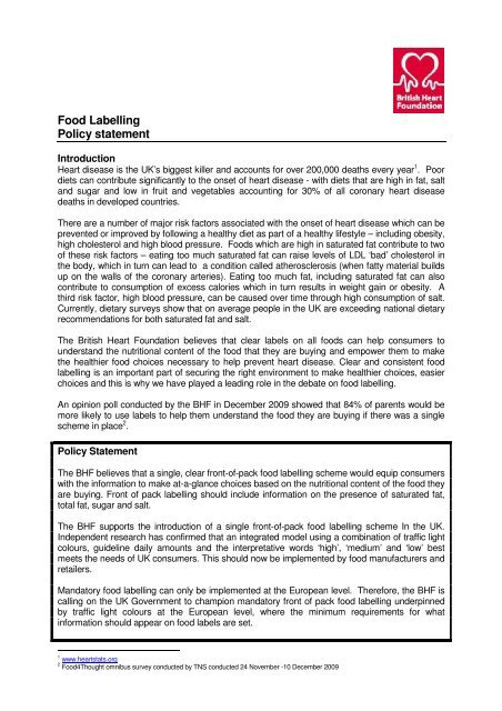 Food Labelling Policy statement - British Heart Foundation