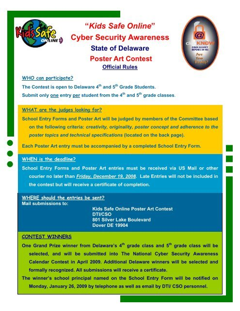 """""""Kids Safe Online"""" Cyber Security Awareness - State of Delaware"""