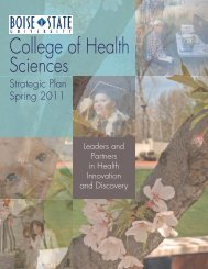 Strategic Plan Booklet - College of Health Sciences - Boise State ...
