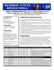 Game Notes vs. Drexel - Georgia State University Athletics